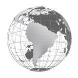 Isolerat jordklot för silverjordplanet 3D vektor illustrationer