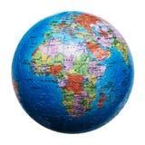 Isolerat jordklotpussel africa översikt Arkivfoto