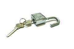 isolerat key lås Fotografering för Bildbyråer