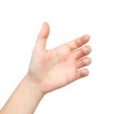 Isolerat kvinnligt räcker gömma i handflatan rymt betvingar arkivfoto