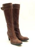 isolerat läder för kängor brown Royaltyfria Bilder
