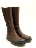 isolerat läder för kängor brown Fotografering för Bildbyråer