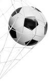 Isolerat mål för fotbollboll Royaltyfri Fotografi