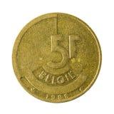 Isolerat mynt 1986 för belgisk franc fem royaltyfri fotografi