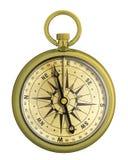 Isolerat nautiskt för kompass för gammal tappning guld- arkivbilder