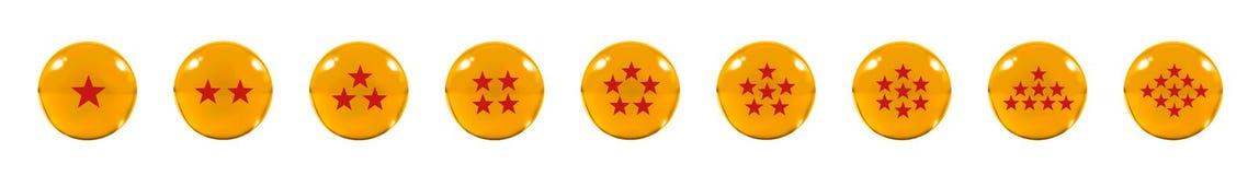 Isolerat nio orange glass bollar eller marmor och en röd stjärnafigur Arkivbilder