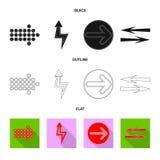 Isolerat objekt av beståndsdel- och pilsymbolet Uppsättning av illustrationen för beståndsdel- och riktningsmaterielvektor stock illustrationer