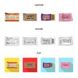Isolerat objekt av biljett- och erkännandesymbolen Samling av biljetten och händelsematerielsymbolet för rengöringsduk stock illustrationer