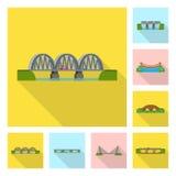 Isolerat objekt av bridgework- och brotecknet St?ll in av bridgework- och gr?nsm?rkematerielsymbolet f?r reng?ringsduk royaltyfri illustrationer
