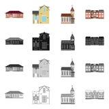 Isolerat objekt av byggnads- och framdelsymbolen Samling av byggnads- och takvektorsymbolen för materiel stock illustrationer
