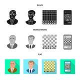 Isolerat objekt av den schackmatta och tunna logoen Samling av schackmatt och illustrationen för målmaterielvektor royaltyfri illustrationer