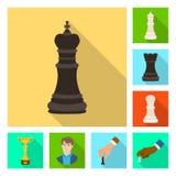Isolerat objekt av den schackmatta och tunna logoen Samling av schackmatt- och målmaterielsymbolet för rengöringsduk stock illustrationer