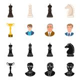 Isolerat objekt av den schackmatta och tunna logoen Samling av schackmatt- och målmaterielsymbolet för rengöringsduk vektor illustrationer