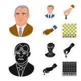 Isolerat objekt av den schackmatta och tunna logoen Ställ in av schackmatt och illustration för målmaterielvektor stock illustrationer