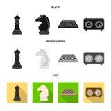 Isolerat objekt av den schackmatta och tunna logoen Ställ in av schackmatt- och målvektorsymbolen för materiel vektor illustrationer