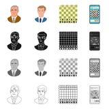 Isolerat objekt av den schackmatta och tunna logoen St?ll in av schackmatt- och m?lvektorsymbolen f?r materiel stock illustrationer
