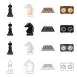 Isolerat objekt av den schackmatta och tunna symbolen St?ll in av schackmatt- och m?lvektorsymbolen f?r materiel stock illustrationer
