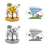 Isolerat objekt av det naturlig och katastrofsymbolet Uppsättning av det naturlig och riskmaterielsymbolet för rengöringsduk vektor illustrationer