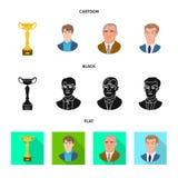Isolerat objekt av det schackmatta och tunna symbolet Samling av schackmatt- och målmaterielsymbolet för rengöringsduk stock illustrationer