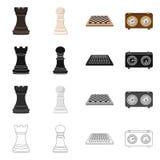 Isolerat objekt av det schackmatta och tunna symbolet Samling av schackmatt- och m?lvektorsymbolen f?r materiel royaltyfri illustrationer
