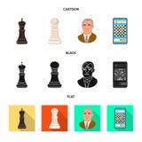 Isolerat objekt av det schackmatta och tunna symbolet Ställ in av schackmatt och illustration för målmaterielvektor vektor illustrationer