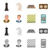 Isolerat objekt av det schackmatta och tunna symbolet Ställ in av schackmatt och illustration för målmaterielvektor royaltyfri illustrationer