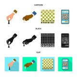 Isolerat objekt av det schackmatta och tunna tecknet Samling av schackmatt- och målvektorsymbolen för materiel royaltyfri illustrationer