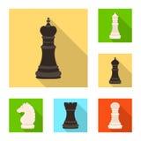 Isolerat objekt av det schackmatta och tunna tecknet Samling av schackmatt- och målvektorsymbolen för materiel stock illustrationer