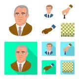 Isolerat objekt av det schackmatta och tunna tecknet Ställ in av schackmatt- och målmaterielsymbolet för rengöringsduk stock illustrationer
