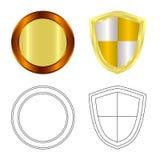 Isolerat objekt av emblem- och emblemlogoen Uppsättning av emblem- och klistermärkevektorsymbolen för materiel royaltyfri illustrationer