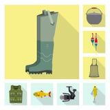 Isolerat objekt av fisk- och fiskelogoen Upps?ttning av fisk- och utrustningmaterielsymbolet f?r reng?ringsduk stock illustrationer