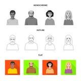 Isolerat objekt av frisyr- och yrkelogoen Samling av frisyr- och teckenmaterielsymbolet för rengöringsduk stock illustrationer