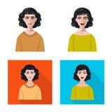 Isolerat objekt av frisyr- och yrketecknet Samling av frisyr- och teckenmaterielsymbolet f?r reng?ringsduk stock illustrationer