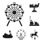 Isolerat objekt av gyckel och hästtecknet Ställ in av gyckel- och för cirkusmaterielvektor illustration vektor illustrationer
