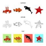 Isolerat objekt av havs- och djursymbolen Samling av havs- och flottavektorsymbolen för materiel stock illustrationer