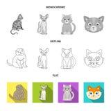 Isolerat objekt av husdjur- och sphynxlogoen St?ll in av husdjur och illustration f?r gyckelmaterielvektor stock illustrationer