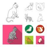 Isolerat objekt av husdjur- och sphynxsymbolet Samlingen av husdjuret och gyckel lagerf?r symbolet f?r reng?ringsduk royaltyfri illustrationer