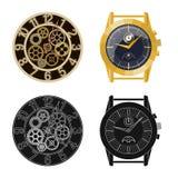 Isolerat objekt av klockan och tidsymbolen Samling av illustrationen för klocka- och cirkelmaterielvektor royaltyfri illustrationer