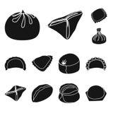 Isolerat objekt av kokkonst och aptitretarelogoen Ställ in av kokkonst- och matvektorsymbolen för materiel stock illustrationer