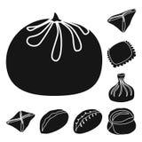 Isolerat objekt av kokkonst och aptitretarelogoen St?ll in av kokkonst- och matvektorsymbolen f?r materiel stock illustrationer