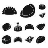 Isolerat objekt av kokkonst och aptitretaretecknet Ställ in av kokkonst- och matmaterielsymbolet för rengöringsduk stock illustrationer