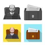 Isolerat objekt av lag och advokatsymbolen Samling av illustrationen för lag- och rättvisamaterielvektor stock illustrationer