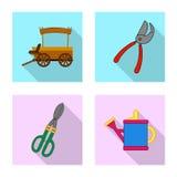 Isolerat objekt av lantgård- och jordbruklogoen Samling av lantgård- och växtvektorsymbolen för materiel royaltyfri illustrationer