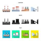 Isolerat objekt av produktion- och strukturlogoen Samling av produktion och illustrationen f?r vektor f?r teknologimateriel stock illustrationer