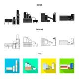 Isolerat objekt av produktion- och struktursymbolen St?ll in av produktion- och teknologivektorsymbolen f?r materiel stock illustrationer