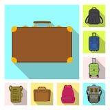 Isolerat objekt av resväska- och bagagesymbolet Uppsättning av resväska- och resamaterielsymbolet för rengöringsduk royaltyfri illustrationer