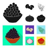 Isolerat objekt av smak och produktlogoen St?ll in av smak och att laga mat materielsymbolet f?r reng?ringsduk vektor illustrationer
