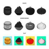 Isolerat objekt av smak och produktlogoen St?ll in av smak och att laga mat vektorsymbolen f?r materiel vektor illustrationer