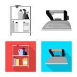 Isolerat objekt av tvätterit och den rena symbolen Samlingen av tvätterit och kläder lagerför vektorillustrationen stock illustrationer