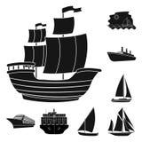Isolerat objekt av yacht- och skepplogoen Samling av yacht- och kryssningmaterielsymbolet för rengöringsduk royaltyfri illustrationer